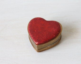 Antique Red Leather Heart Shaped Ring Presentation Box / Vintage Ring Box / You Have My Heart