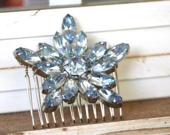 Something Blue Vintage Upcycled Ice Blue WEISS  Rhinestone Navette Marquise Flower Hair Accessory Hair Comb Bridal Wedding