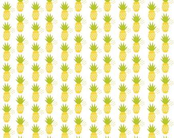 SUMMER SALE - 5 Yard Cut - Fresh Market - Pineapples - C5314 - White- Bella Blvd for Riley Blake Designs