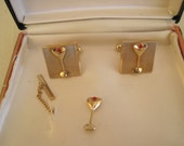 Cuff Links and Tie Tack Martini Glass Mid Century Brass In Original Box 1950s