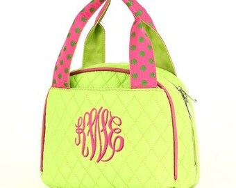 Personalized Quilted Lime/Pink Lunchbox
