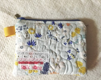 SALe Quilted Zipper Pouch, lace and selvedge, Folk Song, light blue, READY TO SHIP, organizer, pouch