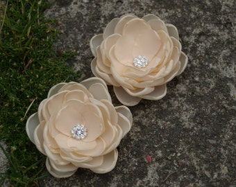 Cream Nude Beige Colored Flower Hair Pins - Brooches - Shoe Clips Set of 2