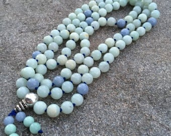 Amazonite 108 Bead Mala Necklace