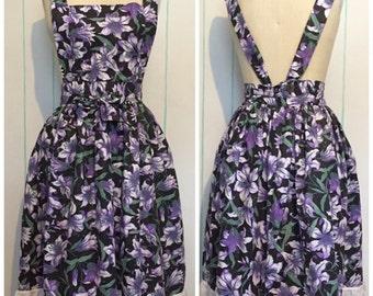 Vintage Purple Flower Apron