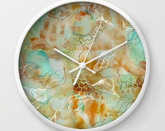 Abstract floral clock, painted art clock, aqua pastel clock, flower wall clock, leafy foliage clock, subtle floral clock country theme clock