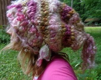 hand knit slouchy hat puffy curls soft art yarn fairy fantasy hat -  soft earth angel hat