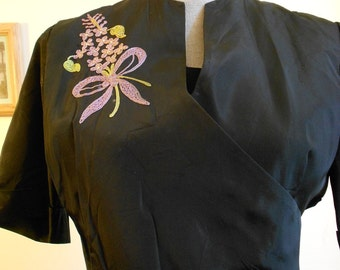 """1950's, 40"""" bust, black taffeta dress, with embroidered bouquets   of lilacs"""