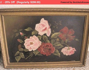 Surprise SALE - Antique Painting Roses Still Life Oil Victorian Shabby