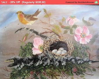 Surprise SALE - Antique Painting Birds Oil Folk Art Victorian 1 of 2