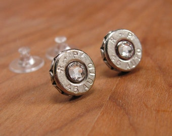 Bullet Jewelry - Bullet Studs - 45 Auto Silver Bullet Casing Stud Earrings - DIAMOND Swarovski Crystals - More Colors Available