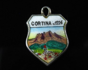 Charm, 800 Silver, Enamel, Scenic Mountain, Cortina d' Ampezzo, Travel Shield, Silver Charm