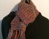 Men's or Women's Scarf, Hand Knit, Merino Wool and Silk Blend, Rust, Brown and a Touch of Sky Blue