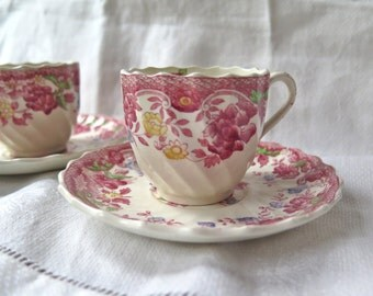 Spode's Bouquet Demi Tasse and Saucers Set of Two Copeland Spode England