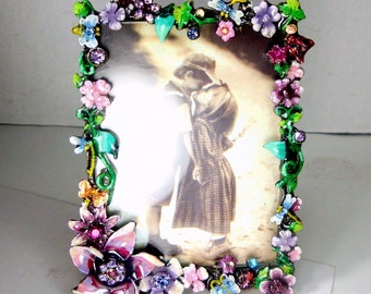 Enamel Flowered Picture Frame, Desk Style, with Incredible Colors and Rhinestones, Pink Green White Lavender