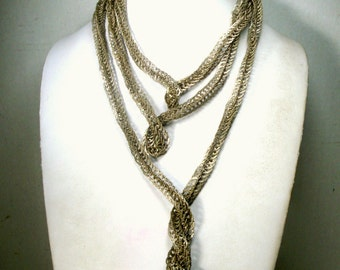 70 Inch LONG SNAKE Silver Chain, 1970s North Africa Purchase, Curls Like a Serpent, No Catch, Tribal Silver ..It is ALIVE.....