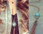 Tassel Necklace -  Swarovski Crystal Pendant Necklace - Turquoise  Necklace - Swarovski Jewelry -  Tassel  Jewelry Trendy Necklace