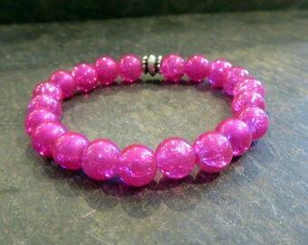 Pink Bracelet Hot Pink Stretch Bracelet Stackable Bracelet Beaded Bracelet Bracelet for Teens Bracelet for Her Bold Colorful Bracelet