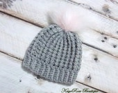 Newborn to 3 Month Old Baby Girl Crochet Gray Cable Knit Pink Fur Pom Pom Hat