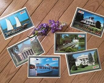 Set of 6 vintage New York postcards - Apple Prints - unused