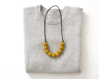 Rondure - Felted Bead Necklace in Mustard