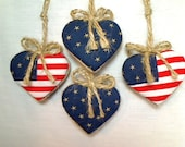 Miniature Flag Americana Heart Ornaments | Holidays | Party Favors | July 4th | Handmade | Tree Ornament | Decoration |Set/4 | Patriotic  #6