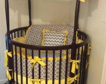 DEPOSIT Round Crib Bedding Complete Set Made to Order in Yellow and Gray