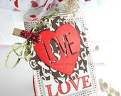 Valentine Love Heart XL Deluxe Art Gift Tags~red foil heart~black~turquoise~February 14th~gold~pink~hang tags~gift bag SWAG~pretty packaging