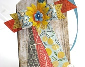 Whimsical Paper Bow XL Luxe Gift Tag~Hang Tag~Pretty Packaging~Deluxe gift tag~baby boy gift tag~any occasion gift tag~yellow~orange~blue