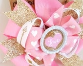 Valentines Day Pink Hair Bow- Pink and metallic gold glitter- Babys First Valentines- Heart Headband- 4 inch Pinwheel Bow on clip- #286