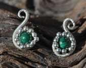Malachite Swans Earrings