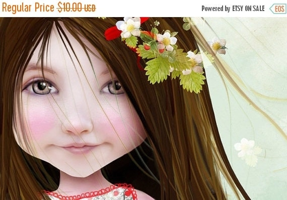 SUMMER SALES EVENT 5x7 Fine Art Print - 'Annalise Lane' - Little Strawberry Girl - Small Sized Giclee print by Jessica Grundy