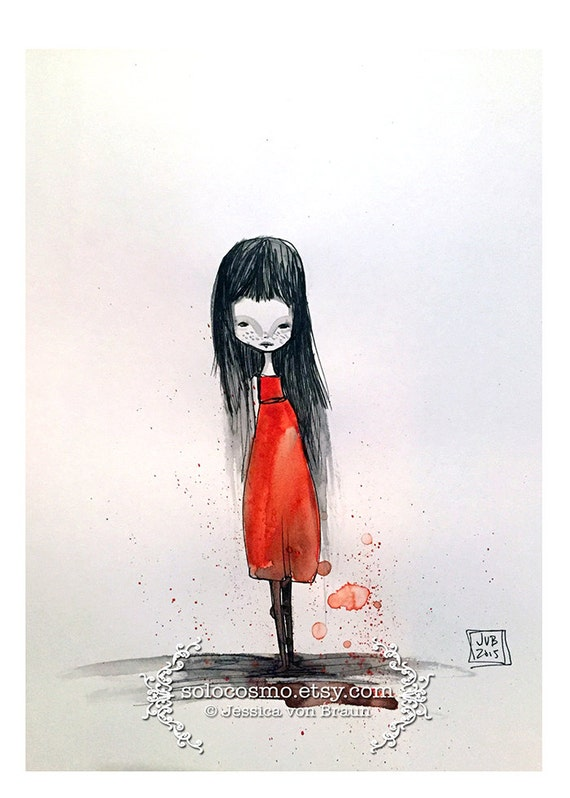 "5x7 Art Print - ""Edina"" - Little Girl in Red Dress - Small sized watercolor art print by Jessica von Braun - little freckled Darkling Girl"