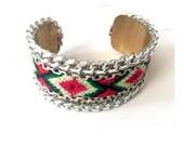 Friendship Bracelet Cuff  - Silver and Pink Brass - Costume Jewelry Boho Chic Unique Women Trendy Handmade Flocktails Beach
