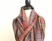 SALE Rustic Chic Scarf - Red Black Yellow Cotton Plaid - Infinity circle loop scarf Cowl Scarf - Fall Winter Fashion Accessory - Gifts for H