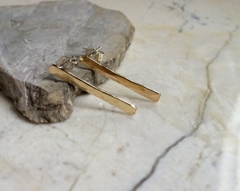 Hammered Brass Stick Post Back Earrings. Simple Earrings. Modern. Minimal. Brass and Sterling Silver. Thin Long Posts.