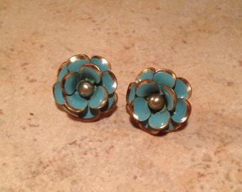Enamel Aqua Rose Goldtone Earrings