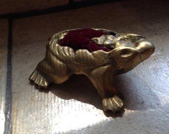 Brass Frog Pin Cushion