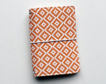 NEW - orange and white diamonds small fauxdori fabric travelers notebook cover, notebook included