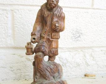 Small Vintage Wood Carving Shepherd & Sheep Statue Sculpture Hand Carved Folk Art Figurine