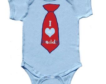 Little Man Tie Bodysuit Fathers Day Romper I love Daddy Tie Baby Boy One Piece Necktie Romper by Mumsy Goose