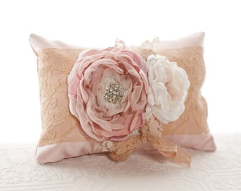 Wedding Ring Pillow, vintage style wedding lace ring bearer pillow, blush, dusty pink, champagne flower