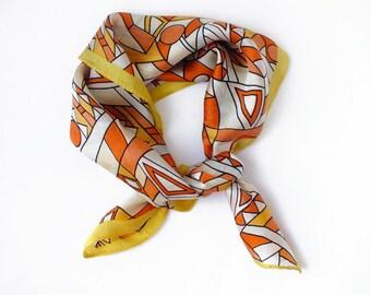 Mid century abstract orange scarf, Vintage 50s geometric silk scarf, Retro Fashion Accessory, Mid century fashion, Abstract design fashion