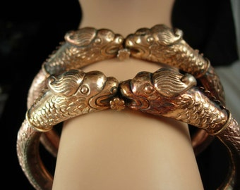 Reserved for nad Antique Dragon Bangle set Bracelet medieval hinged Arm cuff Mythical creature Gothic Chinese oriental jewellery