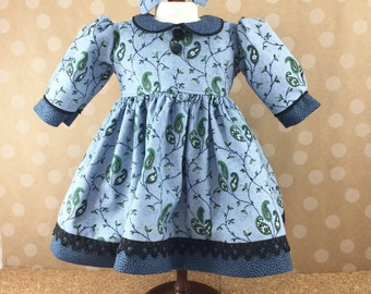 Fits American Girl Doll Other 18 Inch Dolls Long Sleeved Blue Black Green Paisley Flowers and Dots Matching Hair Bow