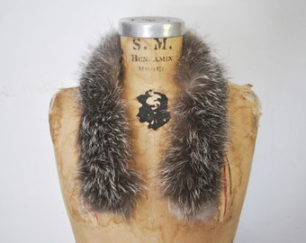 Fox Fur Collar / Black and White / 1980s