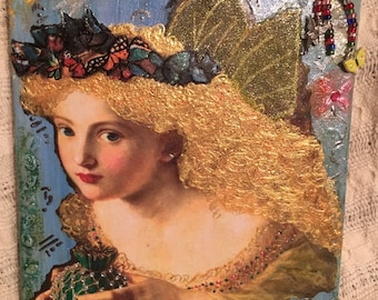 Golden Butterfly Fairy Altered Canvas