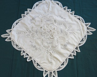 Vintage Battenburg Lace and Embroidered Pillow Cover Ecru with Gray Stitching 1980s
