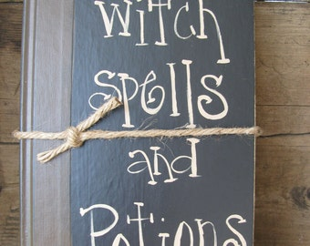 Primitive Halloween Witch Spells and Potions Hand Painted Vintage Book GCC3167