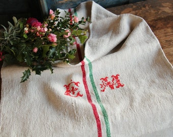 Nr. A404b: grainsack, antique linen, HAPPY  RED and GREEN;  organic pillow; benchcushion; christmas decoration; thanksgiving, wedding gift